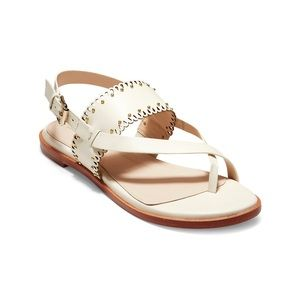 New Cole Haan Anica Scallop Ivory Sandals Sz 7.5 B